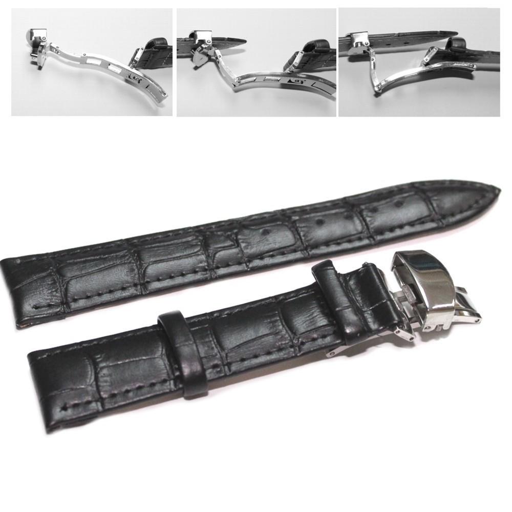 Curea ceas piele neagra Deployant 18 mm 20 mm 22 mm 24 mm imagine techstar.ro 2021
