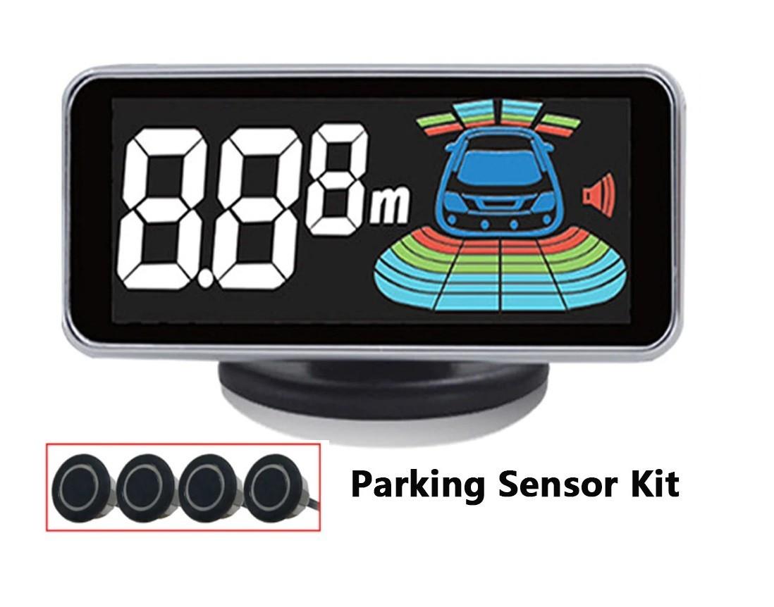 Kit 4 senzori parcare auto, display digital si avertizare sonora si freza inclusa