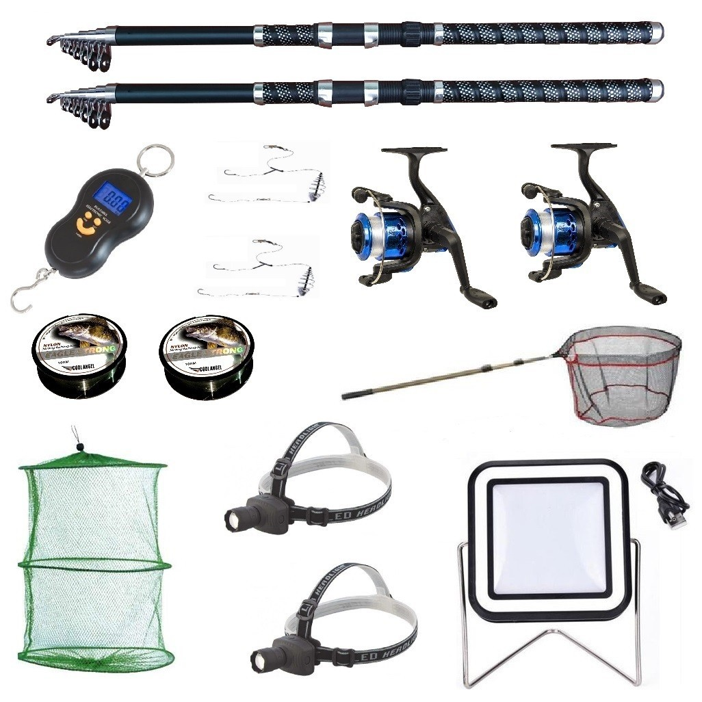 Set 2 lansete ultra carp 2.7m, cantar electronic, 2 mulinete yf200, 2 forfati, 2 gute si alte accesorii imagine techstar.ro 2021