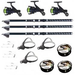 Set pescuit cu 3 lansete 3m ultra carp, 3 mulinete dpr200, 3 lanterne frontale led, 3 gute si 3 monturi
