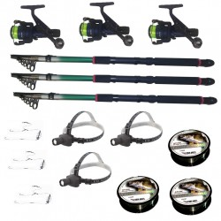 Set pescuit cu 3 lansete 3.6m eastshark, 3 mulinete dpr200, 3 lanterne frontale led, 3 gute si 3 monturi