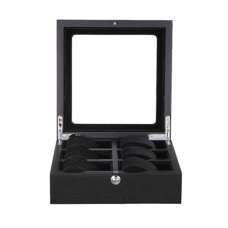 cutie depozitare 6 ceasuri lux lemn negru cu geam