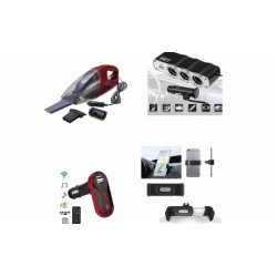 Pachet auto: Modulator FM mp3 + Aspirator + Priza bricheta tripla cu USB + Suport telefon