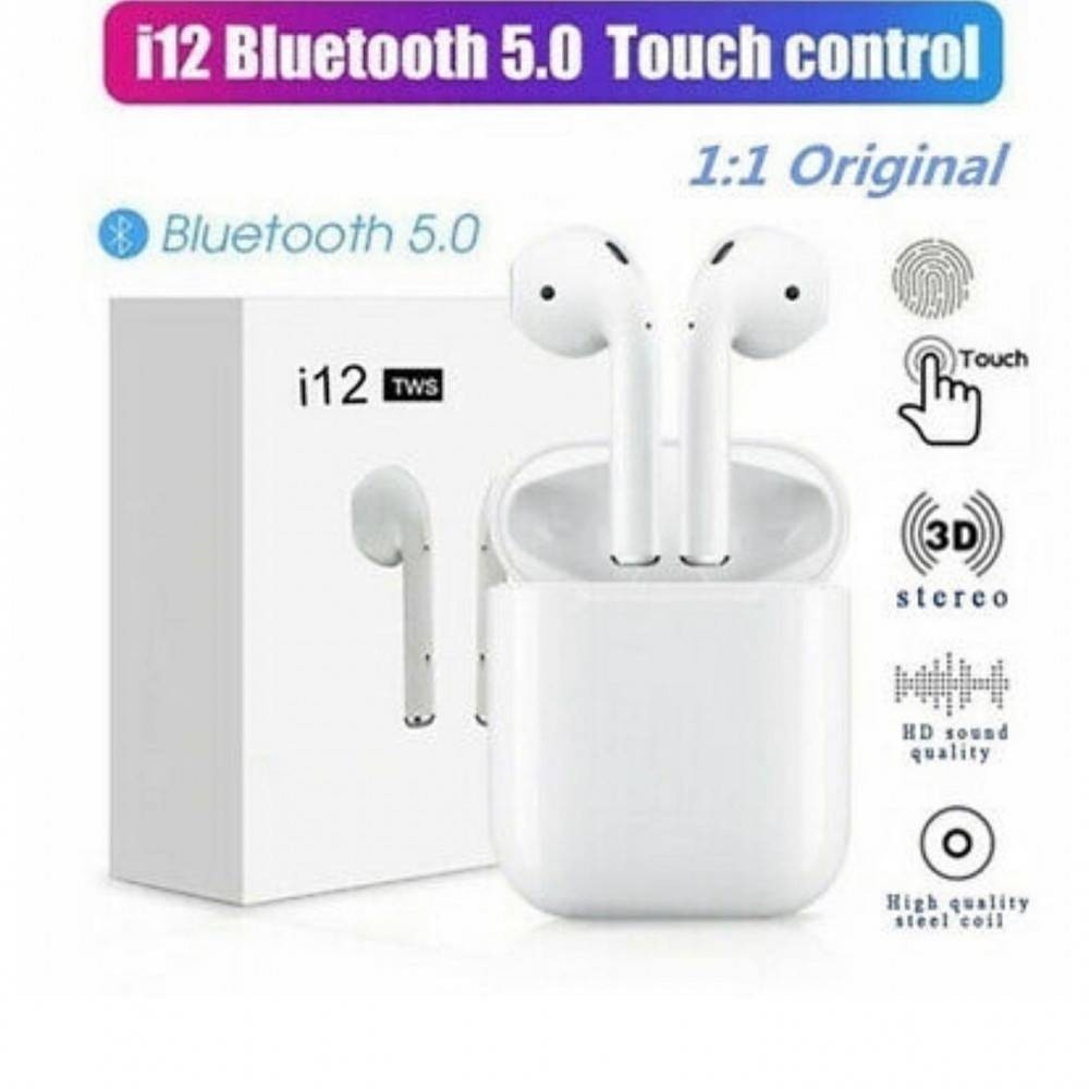 Casti Wireless i12 Bluetooth Touch control, Compatibile Android si iOS imagine techstar.ro 2021