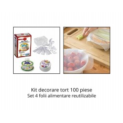 Kit decorare tort 100 piese + Set 4 folii alimentare reutilizabile