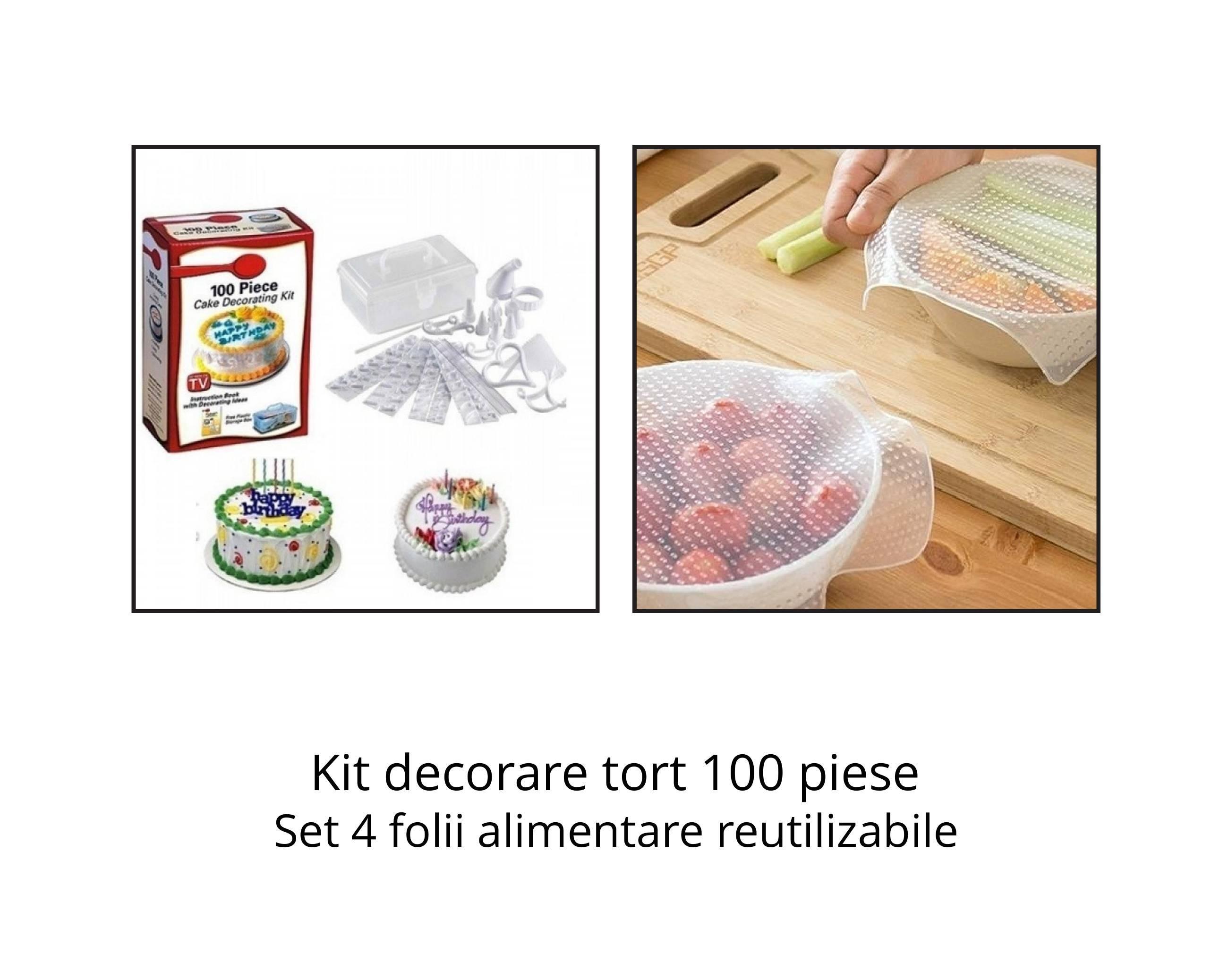 Kit decorare tort 100 piese + Set 4 folii alimentare reutilizabile imagine techstar.ro 2021