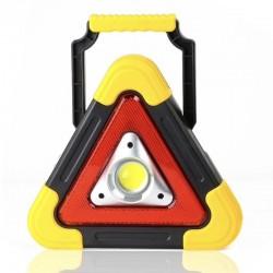 Triunghi SOS Cu Lanterna LED COB , LED Rosu , Incarcare Solara , USB , Acumulator Integrat , Galben+cadou