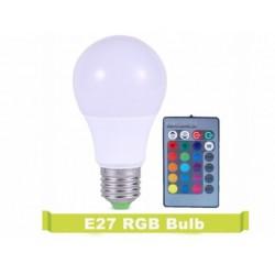 Bec Led, RGB(multicolor),7W, E27 control de la distanta - Telecomanda inclusa