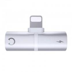 Adaptor 2in1, Casti si Charger pentru iPhone, Splitter, Silver