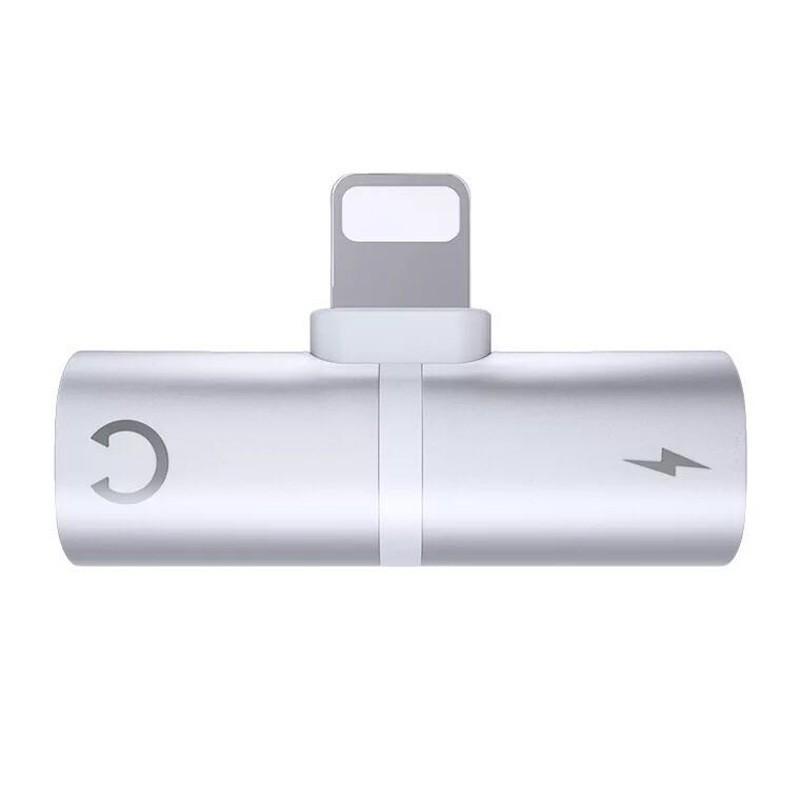 Mini Adaptor Lightning Splitter Dual Port, Pentru Casti Si Incarcare IPhone, Silver imagine techstar.ro 2021