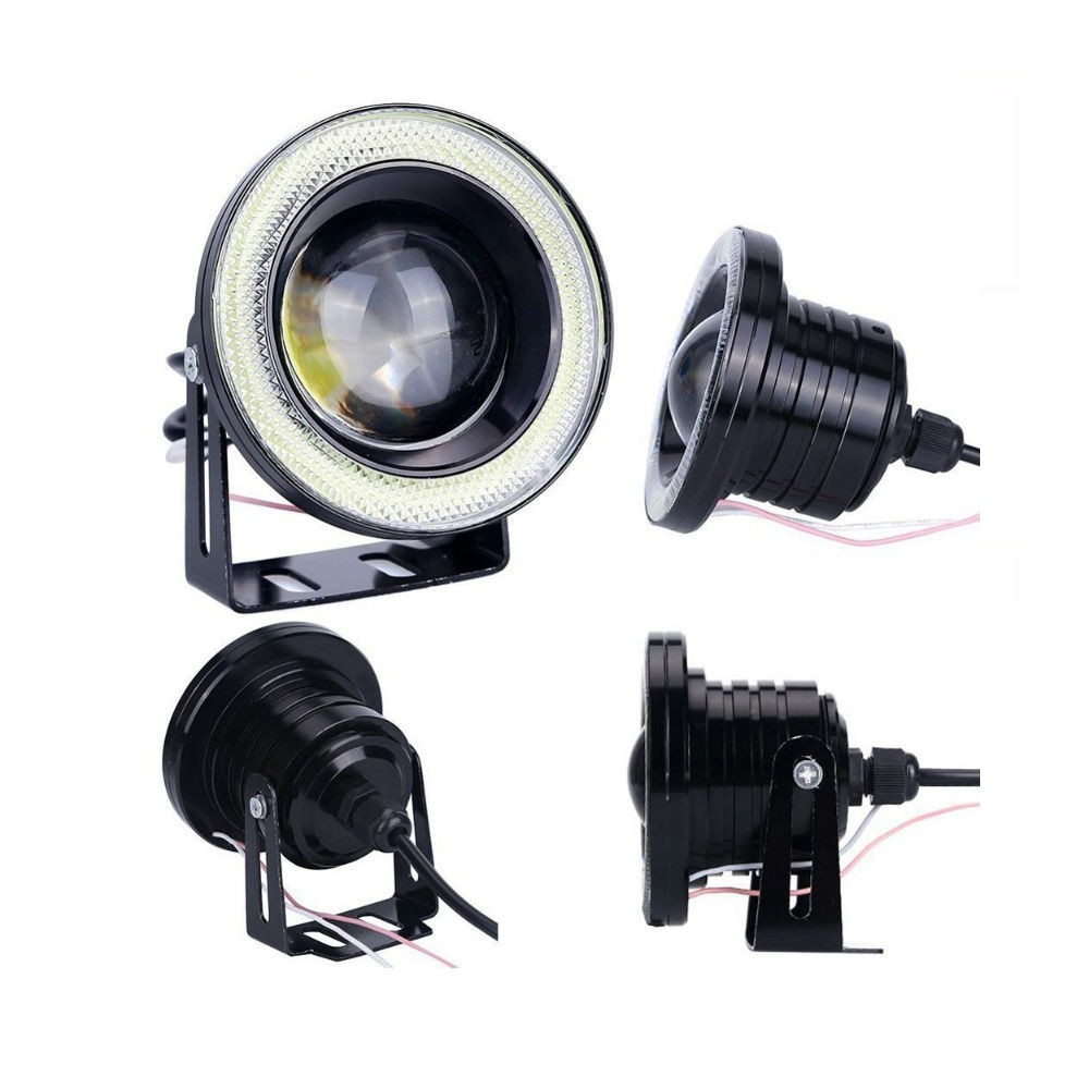 Set 2 proiectoare LED cu lupa si Angel Eyes 89mm imagine techstar.ro 2021