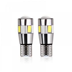 Set becuri LED T10 - W5W, 5 SMD, 3030, CAN-BUS, fara polaritate