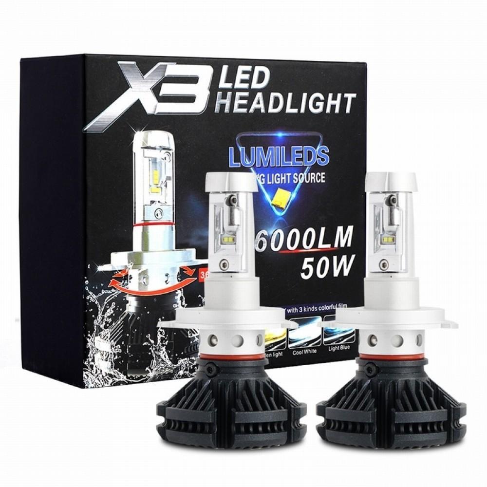Set becuri LED auto X3, 50W, 6000Lm, 6500k - H7 imagine techstar.ro 2021