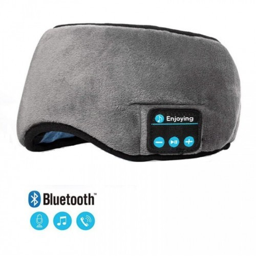 Masca pentru Somn, Functie Bluetooth 5.0, cu Casti si Microfon incorporat, fixare Velcro, culoare Gri