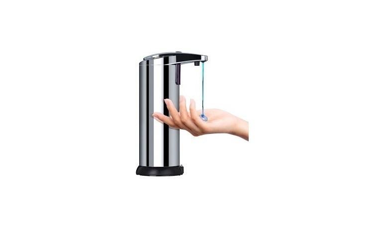 Dozator Metalic/ Dispenser de Sapun/Dezinfectant, Premium, cu senzor de miscare + Baterii Cadou
