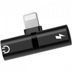 Mini Adaptor Lightning Splitter iUni dual port, pentru casti si incarcare iPhone+cadou