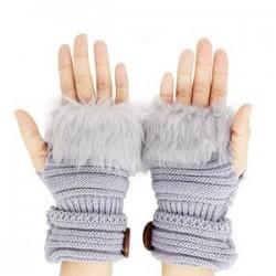 Manusi tricotate cu blanita, fara degete