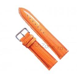 Curea Ceas Piele Portocalie Imprimeu Sarpe 12mm - 24mm