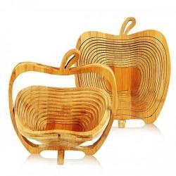 Cos pliabil din bambus in forma de mar, pentru fructe si legume