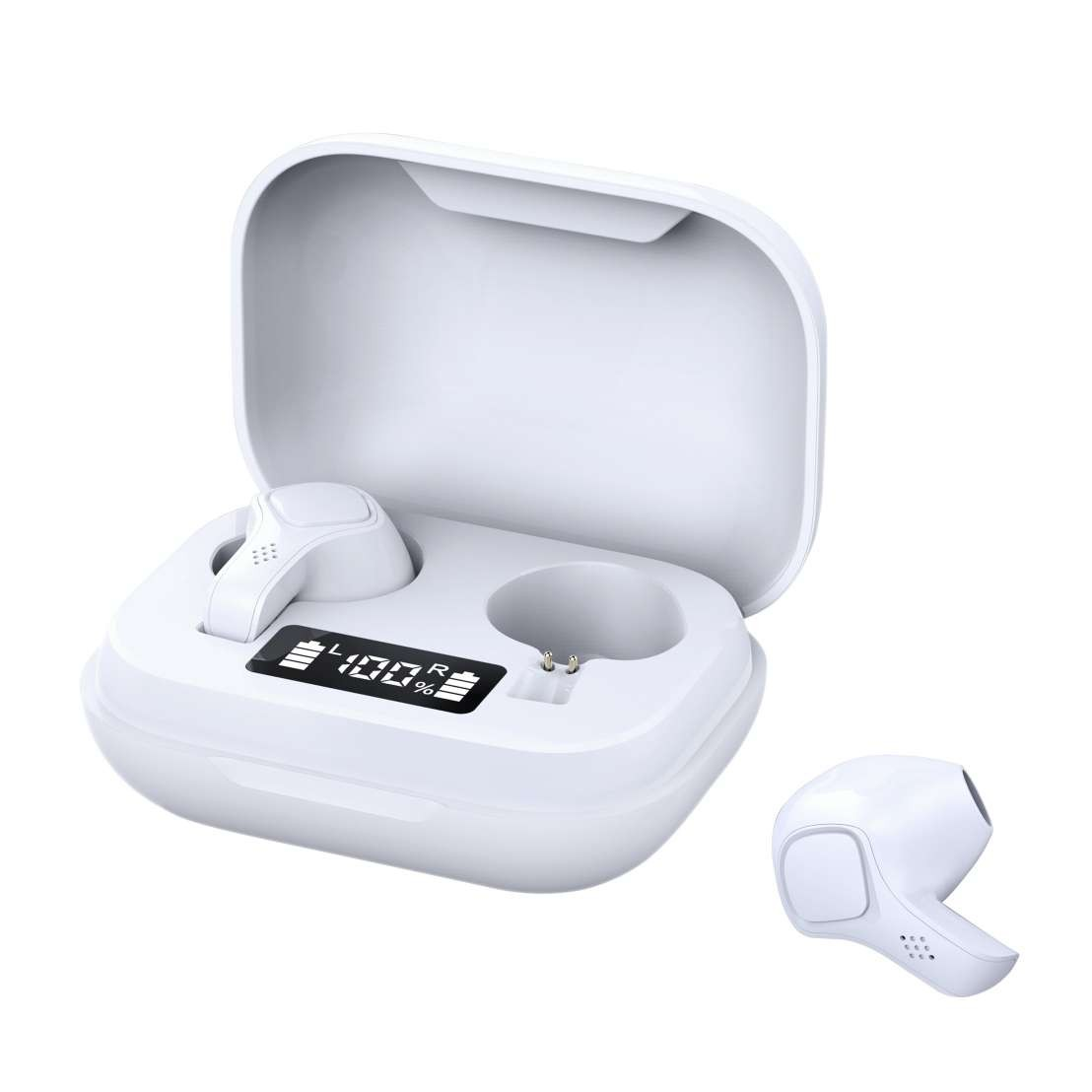 Casti Smart Techstar® TWS S20 , Wireless, Bluetooth V5.0, HD Audio, Touch, IPX5, iOS, Android, 300mAh, Type-C, Alb imagine techstar.ro 2021