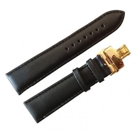 Curea ceas din piele neagra Deployant auriu 18mm - 24mm