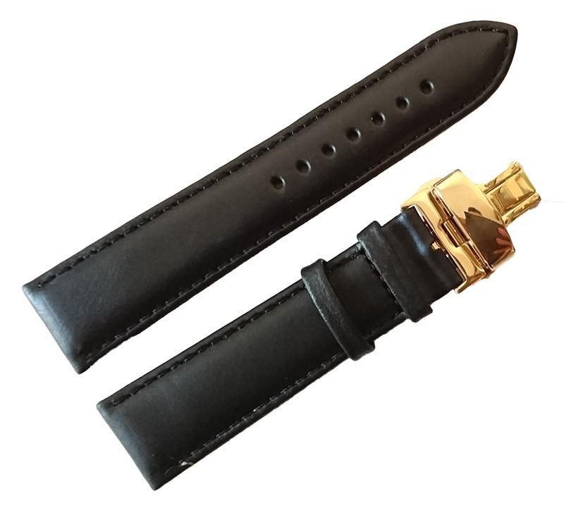 Curea ceas din piele neagra Deployant auriu 18mm - 24mm imagine techstar.ro 2021