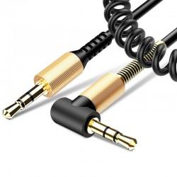 Cablu Auxiliar, Mobster Twisted 90°, Jack 3.5mm to Jack 3.5mm - Spirala - Negru