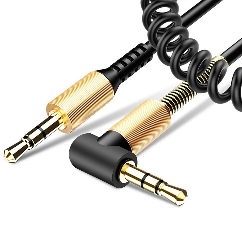 Cablu Auxiliar Mobster Twisted 90°, Jack 3.5mm to Jack 3.5mm - Spirala - Negru + CADOU imagine