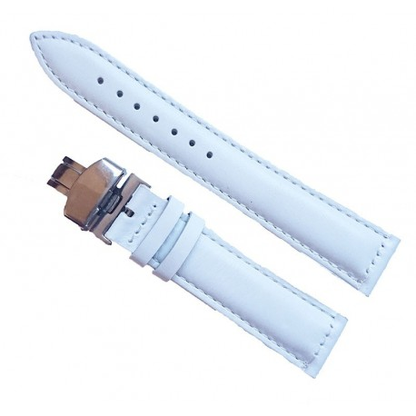 Curea Ceas Piele Alba cu Deployant 14 mm 16 mm 18 mm 20 mm 22 mm 24 mm