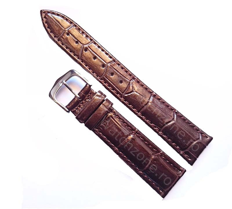 Curea Ceas Din Piele Maro Imprimeu Crocodil 16mm - 24mm imagine techstar.ro 2021