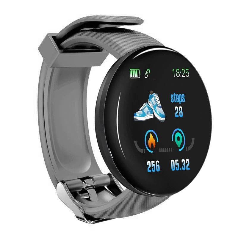 Bratara Fitness Smartband Techstar® D18 Waterproof IP65, Incarcare USB, Bluetooth 4.0, Display Touch Color OLED, Gri imagine techstar.ro 2021