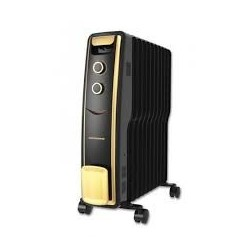 Calorifer electric cu ulei Heinner HCU-S11BK, 11 elementi, 2500 W, 3 trepte de putere, termostat ajustabil, Ne