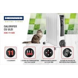 Calorifer electric cu ulei Heinner HOH-Y11WB, 2500 W, 11 elementi, protectie supraincalzire, termostat reglabi