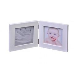 Kit amprenta pentru bebelusi, rama foto , alb , 1 mulaj , 2 D