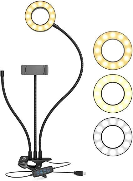 Suport Flexibil pentru Telefon cu 3 MODURII de Iluminare, Ring Light imagine techstar.ro 2021