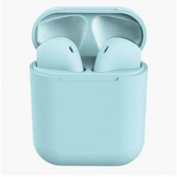Casti Wireless Techstar® TWS i12 Macaron, Touch, Cu Functie Apelare, Control Muzica, Dock Incarcare, Android/ IOS, Albastru