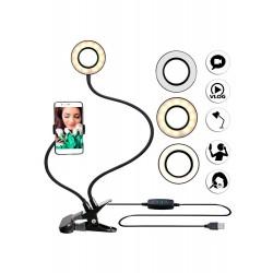 Selfie Ring Light cu suport pentru telefon mobil, pentru chat, video live stream