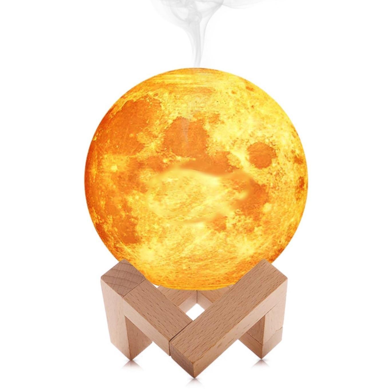 Umidificator lampa luna 3D cu suport de lemn 880 ml