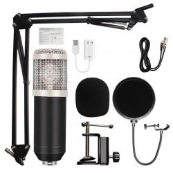 Microfon Profesional de Studio Condenser BM800 cu stand inclus pentru Inregistrare Vocala, Streaming, Gaming, Karaoke