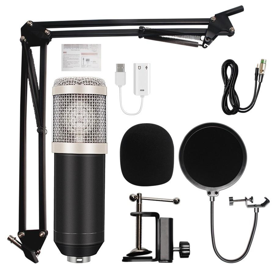 Microfon Profesional de Studio Condenser BM800 cu Stand Inclus pentru Inregistrare Vocala, Streaming, Gaming, Karaoke, Silver imagine techstar.ro 2021