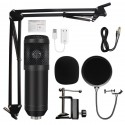 Microfon Profesional de Studio Condenser BM800 cu stand inclus pentru Inregistrare Vocala, Streaming, Gaming, Black
