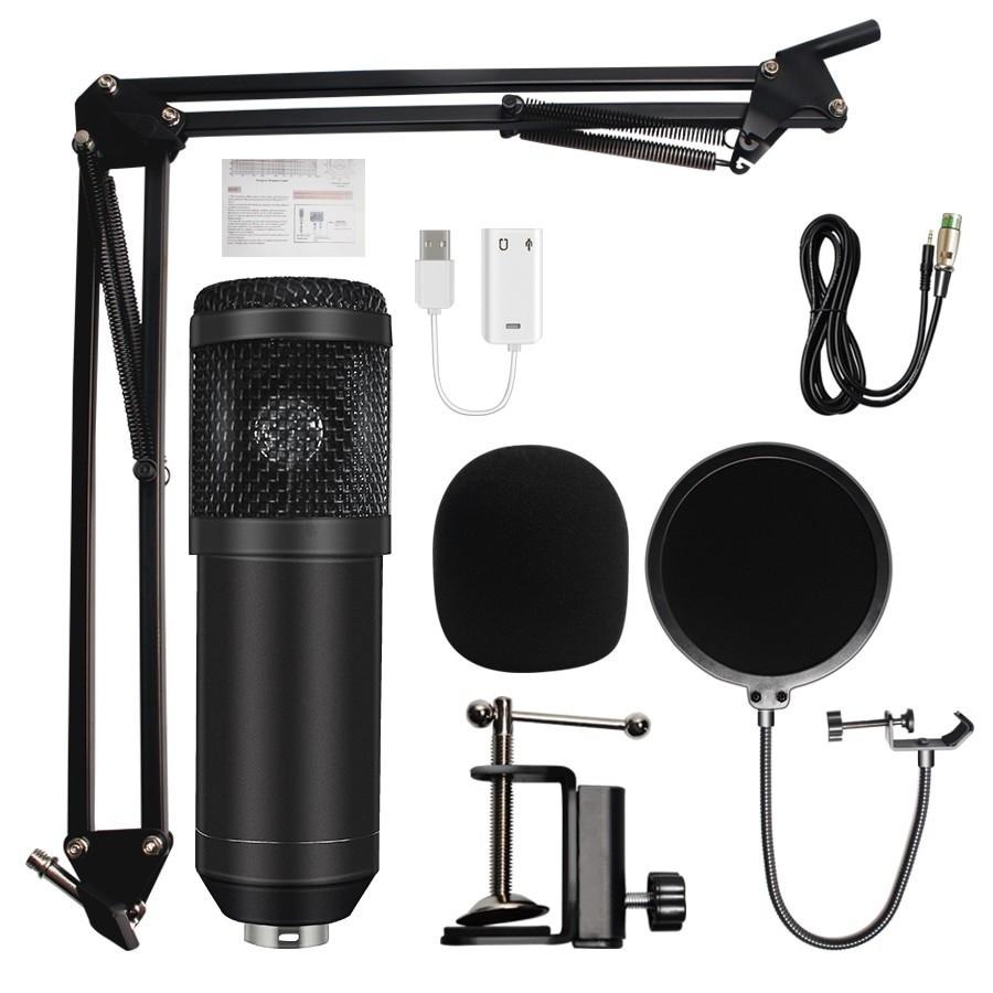 Microfon Profesional de Studio Condenser BM800 cu stand inclus pentru Inregistrare Vocala, Streaming, Gaming, Black imagine techstar.ro 2021