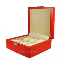 Cutie depozitare 6 ceasuri - piele ROSIE