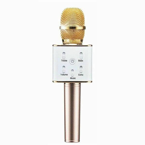 Microfon Profesional Karaoke Smart Q7 Auriu Hi-Fi, Wireless Bluetooth 4.1 Cu Difuzor Si Acumulator