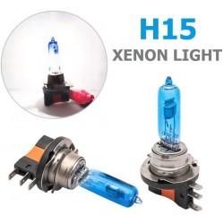 Set de 2 becuri Halogen H15 super white 12V cu 55w 5000k