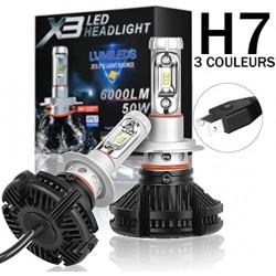 Set de 2 Lampi Led Auto X3 H7 Premium 50W 6000 LM 8000K
