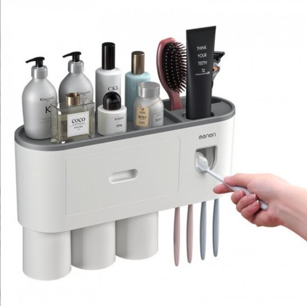 Suport 3 pahare magnetice si dispenser pasta de dinti cu 4 periute imagine techstar.ro 2021
