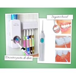 Dozator de pasta de dinti cu suport pentru periute + Irigator bucal pentru curatare dentara