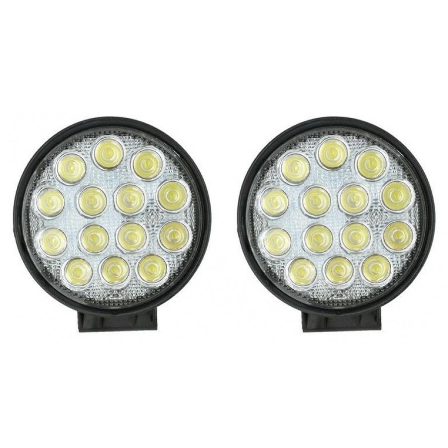 Set 2 x Proiector LED auto offroad 42W 12V-24V, 3080 lumeni, rotund imagine techstar.ro 2021
