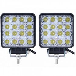 Set 2 x Proiectoare LED auto offroad 48W 12V-24V, 3520 lumeni, patrate